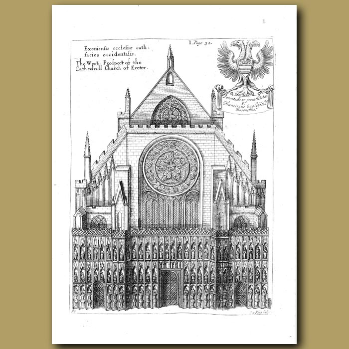 Antique print. Cathedral Church of Exeter, west prospect