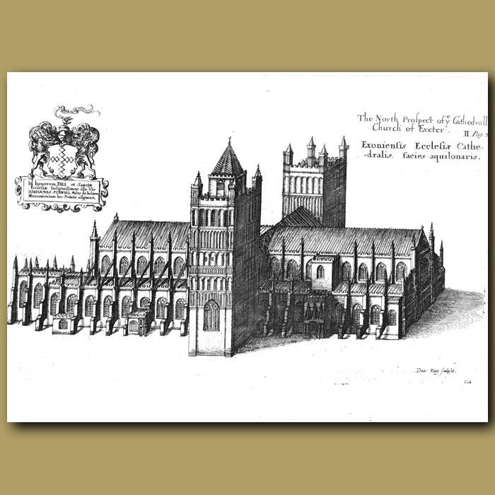 Antique print. Cathedral Church of Exeter, north prospect