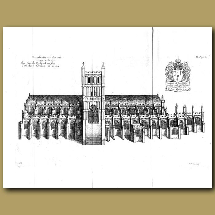 Antique print. Cathedral Church of Exeter, south prospect