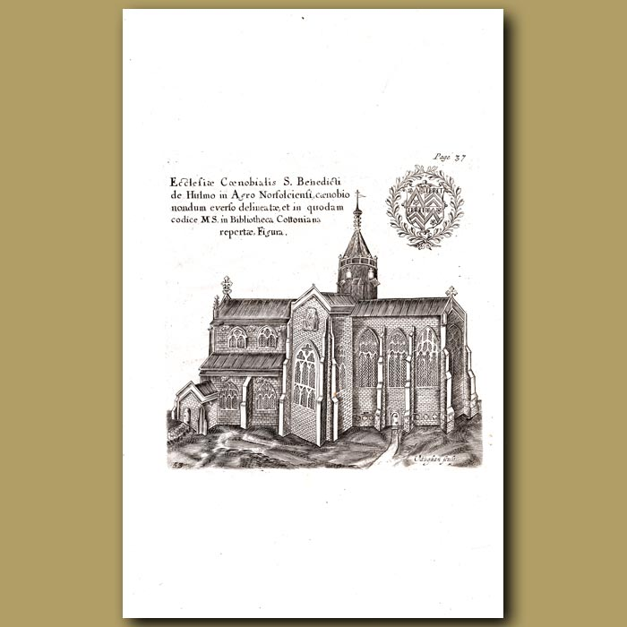 Antique print. Church of St. Werburg of Chester