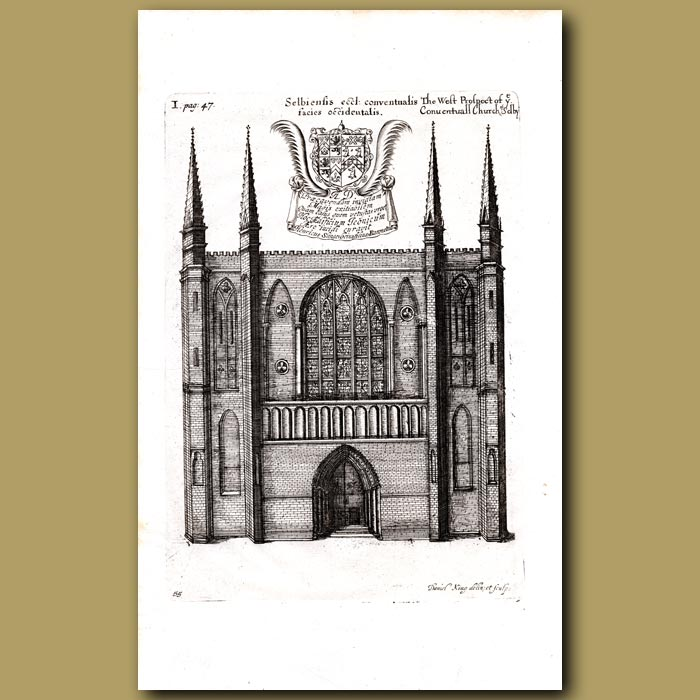 Antique print. Church of Selby, west prospect