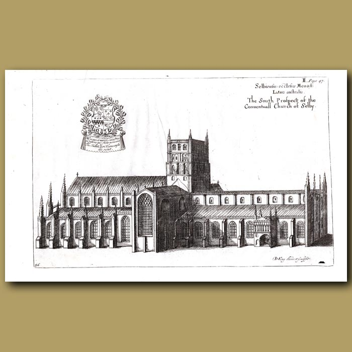 Antique print. Church of Selby, south prospect