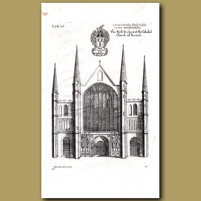 Antique print. Cathedral Church of Norwich, west prospect