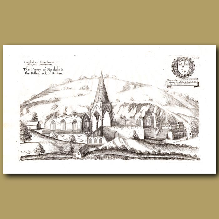 Antique print. Priory of Finchale in the Bishoprick of Durham
