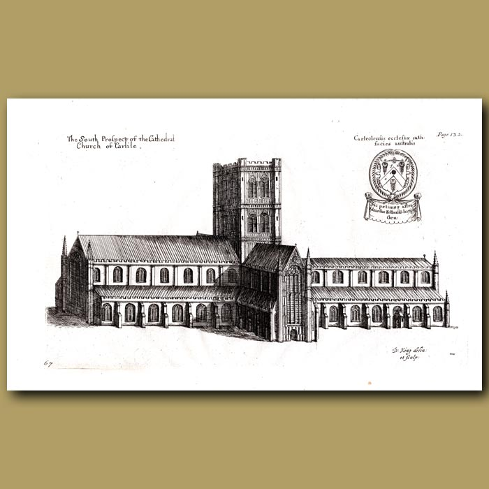 Antique print. Cathedral Church of Carlile in Cumberland, south prospect