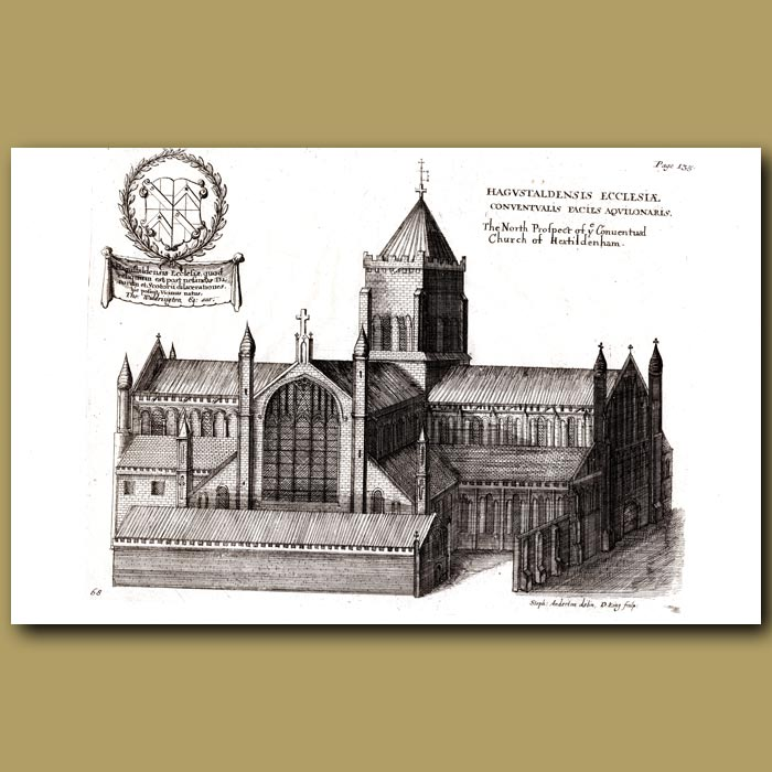 Antique print. Church of Hexham, north prospect