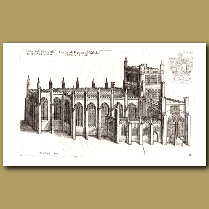 Antique print. Cathedral Church of Bristol, north prospect