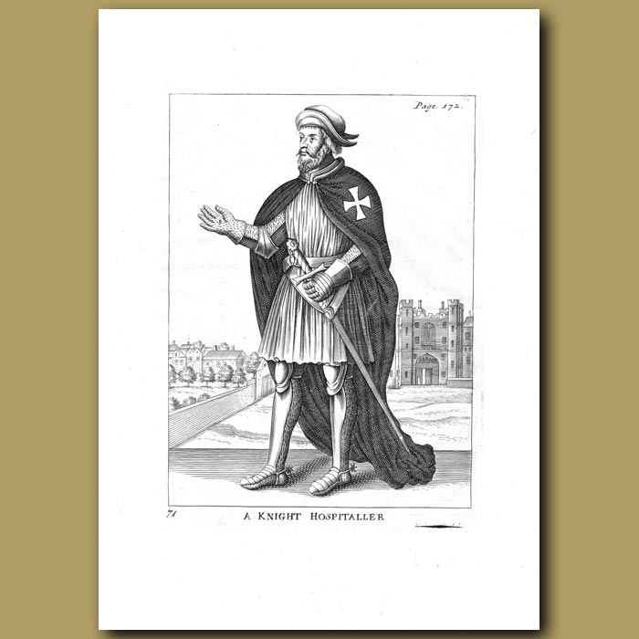 Antique print. A Knight Hospitaller