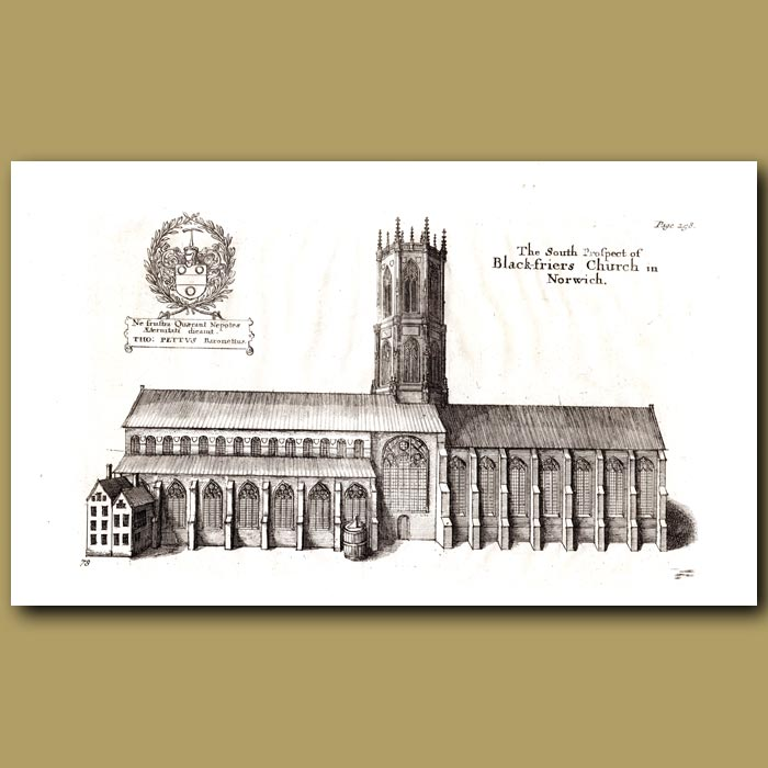 Antique print. Black-friers Church in Norwich, south prospect