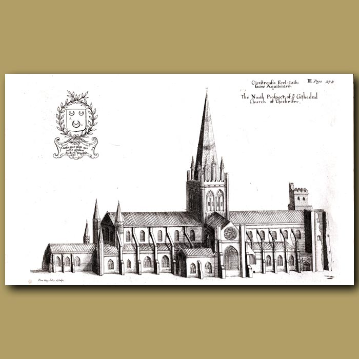 Antique print. Cathedral Church of Chichester, north prospect