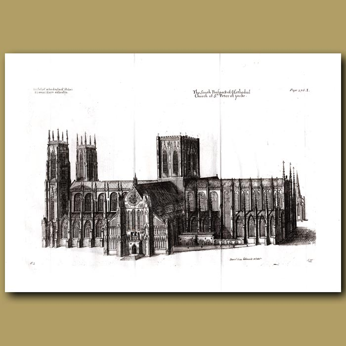 Antique print. Cathedral Church of St.Peter of Yorke, south prospect