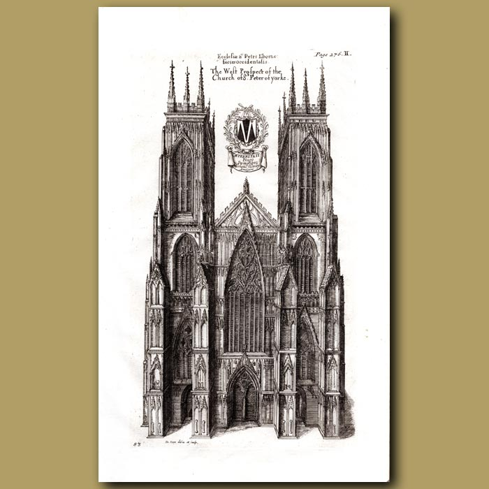 Antique print. Cathedral Church of St.Peter of Yorke, west prospect