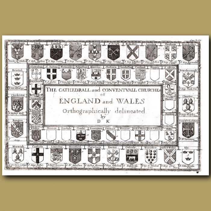 Antique print. Cathedral Crests of England and Wales