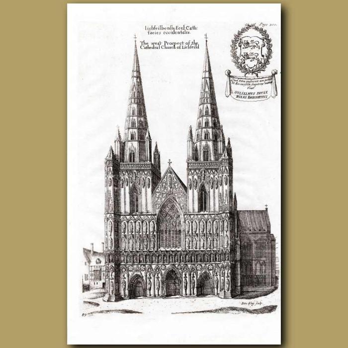 Antique print. Lichfield Cathedral