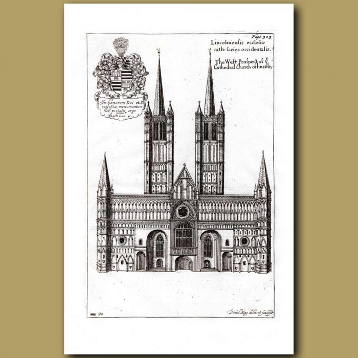Antique print. Lincoln Cathedral