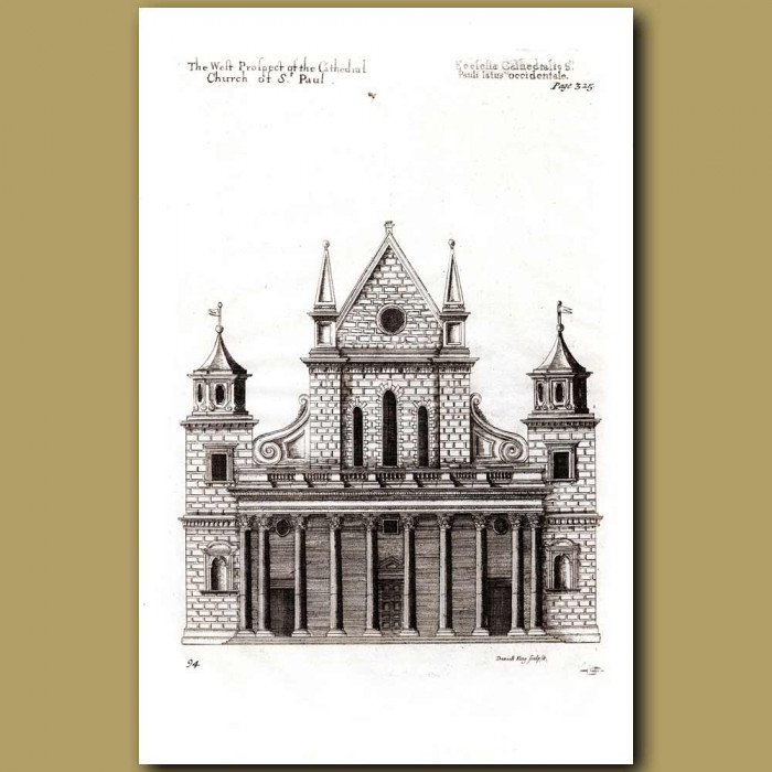 Antique print. St. Paul's Cathedral