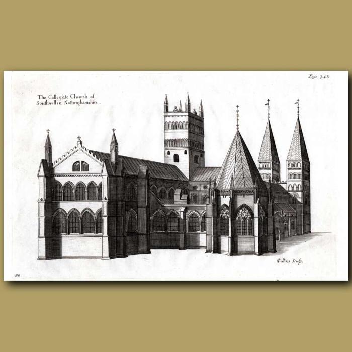 Antique print. Southwell Church, Nottinghamshire