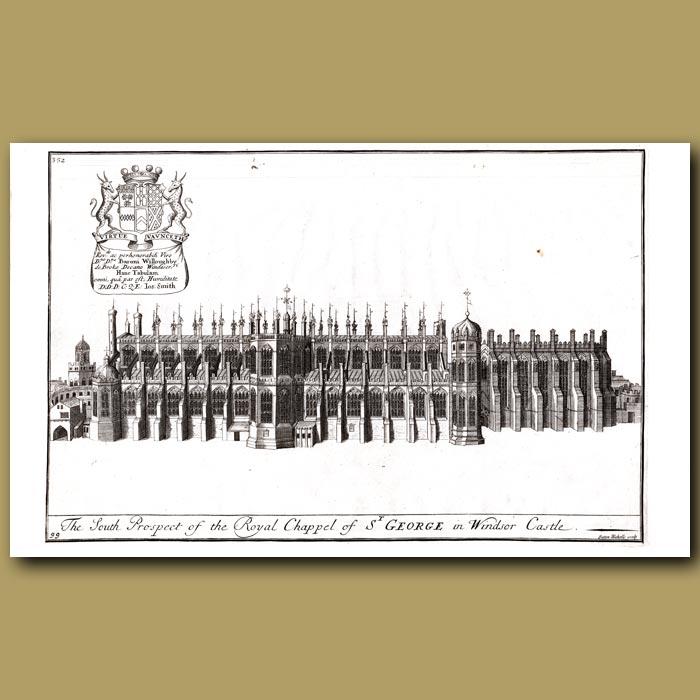Antique print. Royal Chapel of St.George In Windsor Castle