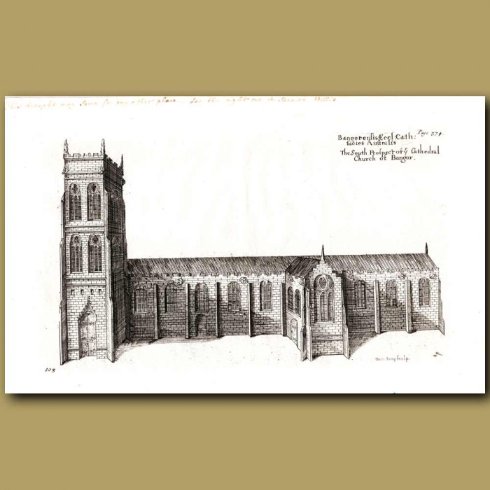 Antique print. Bangor Cathedral