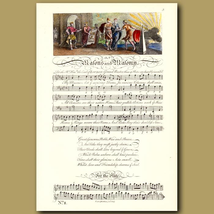 Antique print. On Masons and Masonry