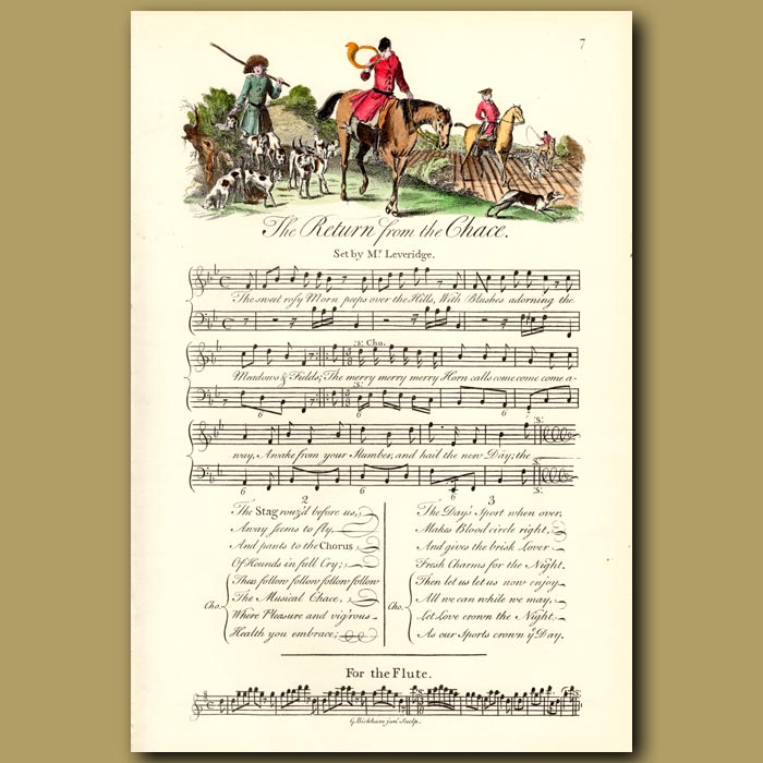Antique print. The Return from the Chase