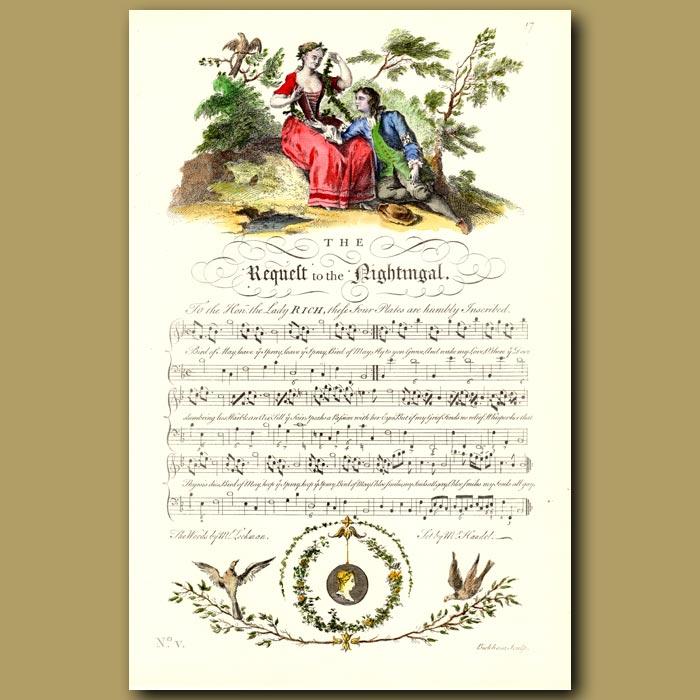 Antique print. The Requelt to the Nightingale