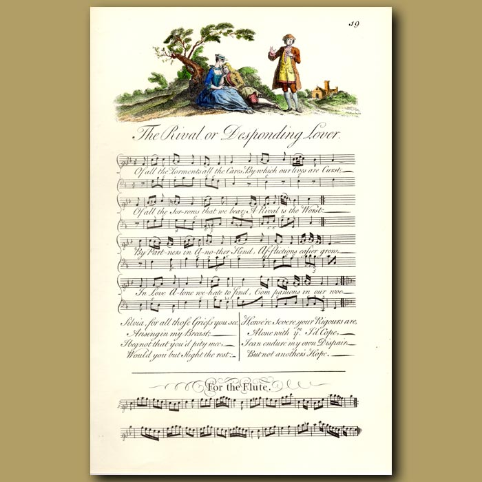 Antique print. The Rival or Desponding Lover