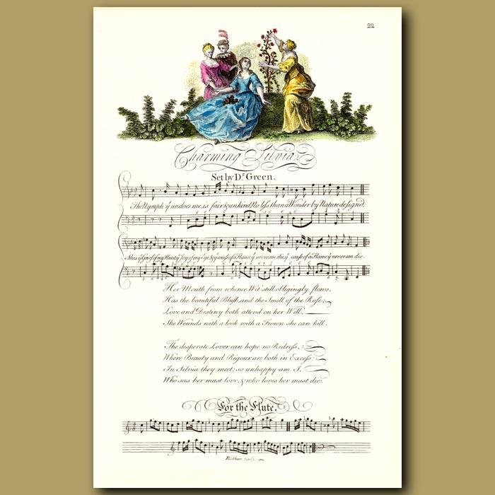 Antique print. Charming Silvia