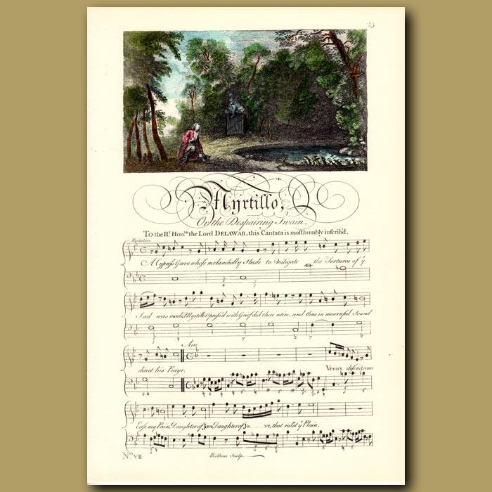 Antique print. Myrtillo or the Despairing Swain