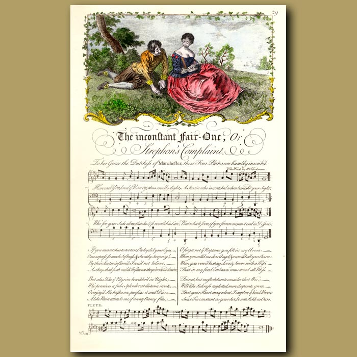 Antique print. The Inconstant Fair One or Strephon's Complaint