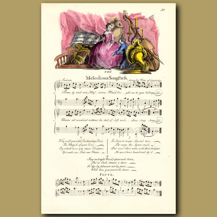 Antique print. The Melodious Songstress