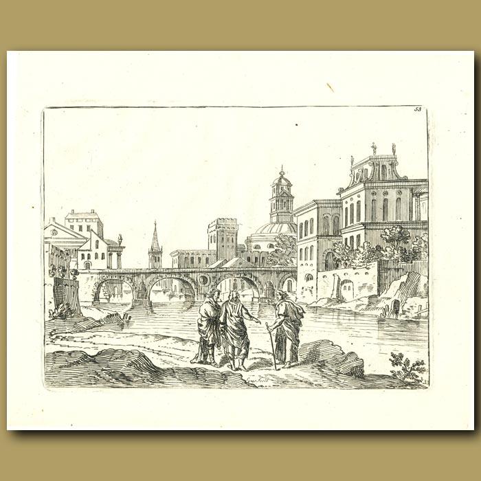 Antique print. Bridge Over A River With Three Men