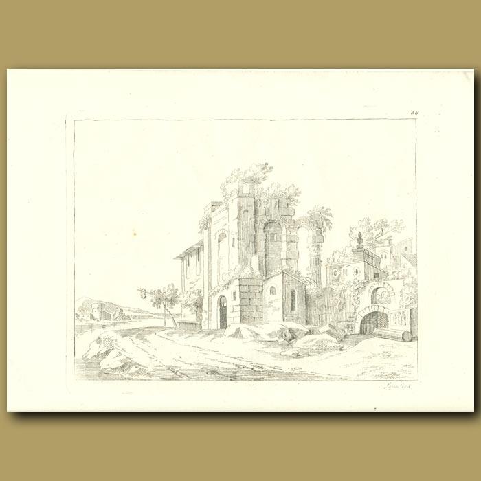 Antique print. Ruins