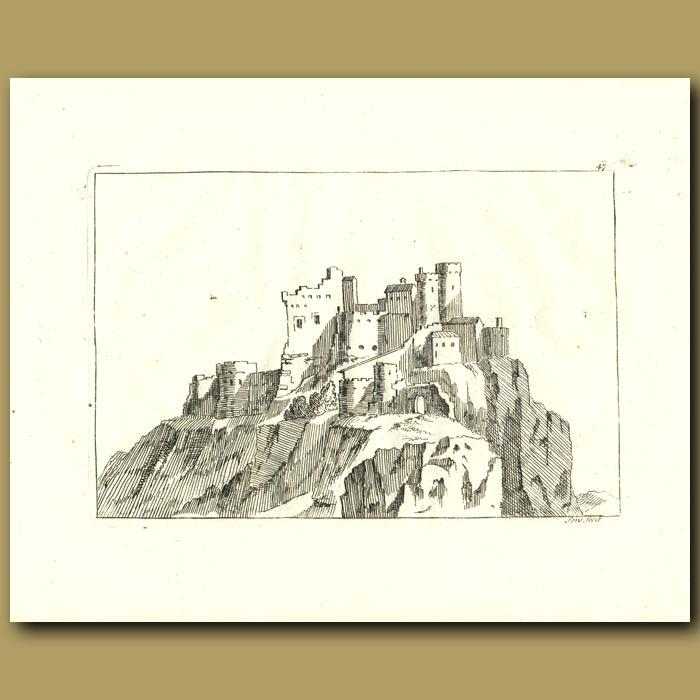 Antique print. Castle Ruins
