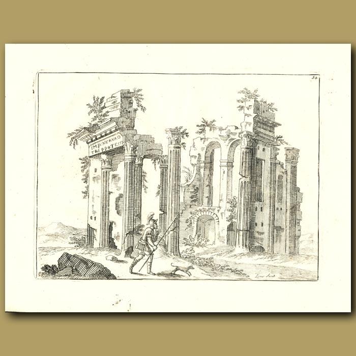 Antique print. Roman Ruins
