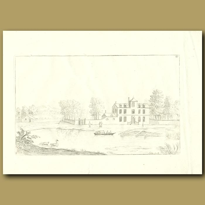 Antique print. Lake And House