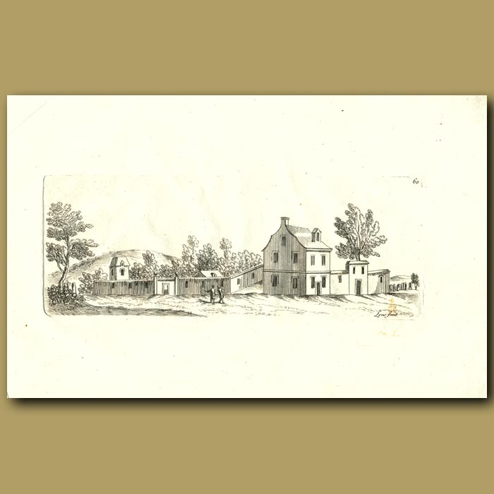 Antique print. House In The Countryside