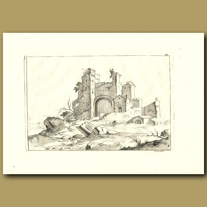 Antique print. Ruins Of A Castle