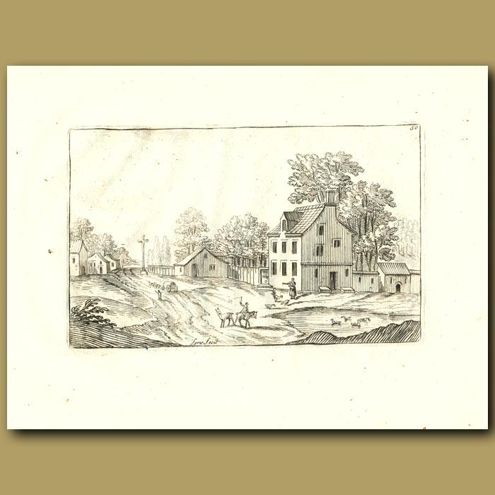 Antique print. Village Scene