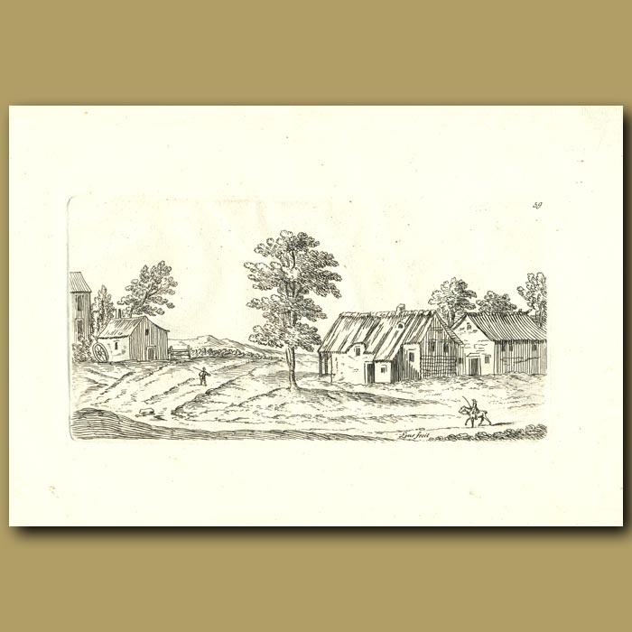 Antique print. Farmhouse