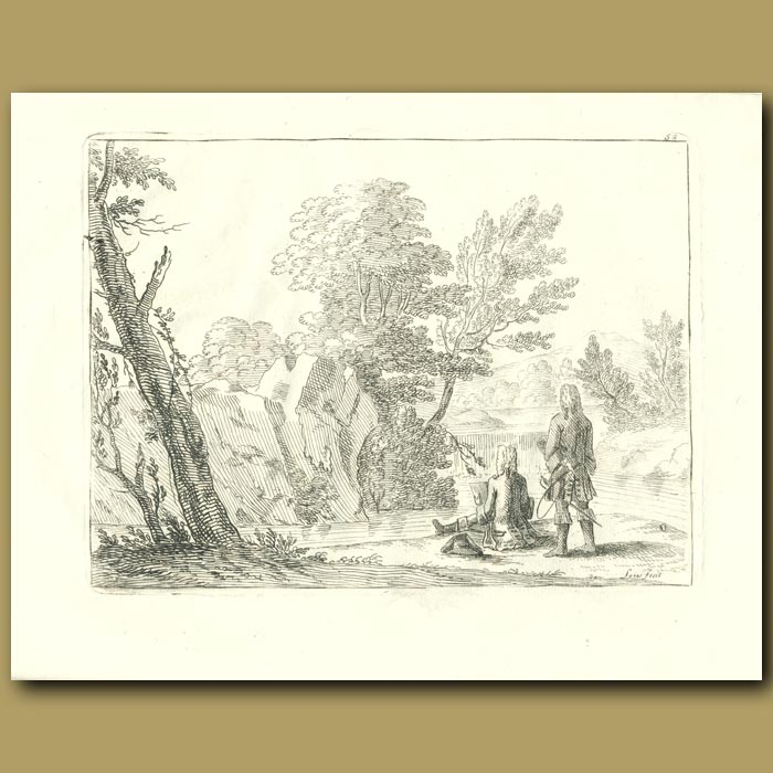 Antique print. 18th Century Gentlemen Drawing In The Countryside
