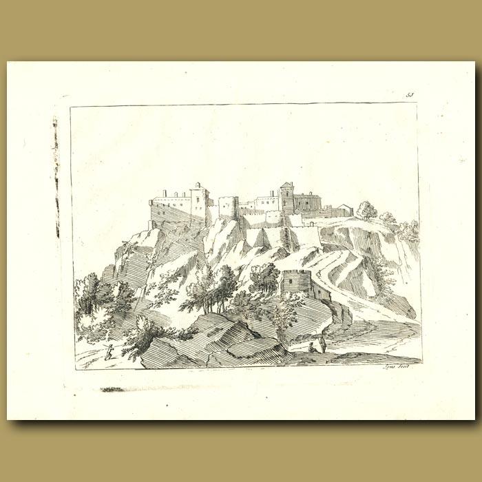 Antique print. French Castle