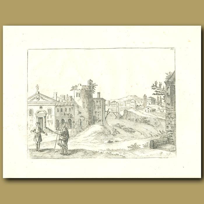 Antique print. Italian Buildings