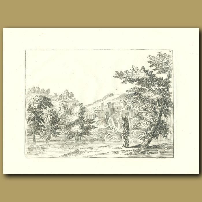 Antique print. Lake In The French Countryside