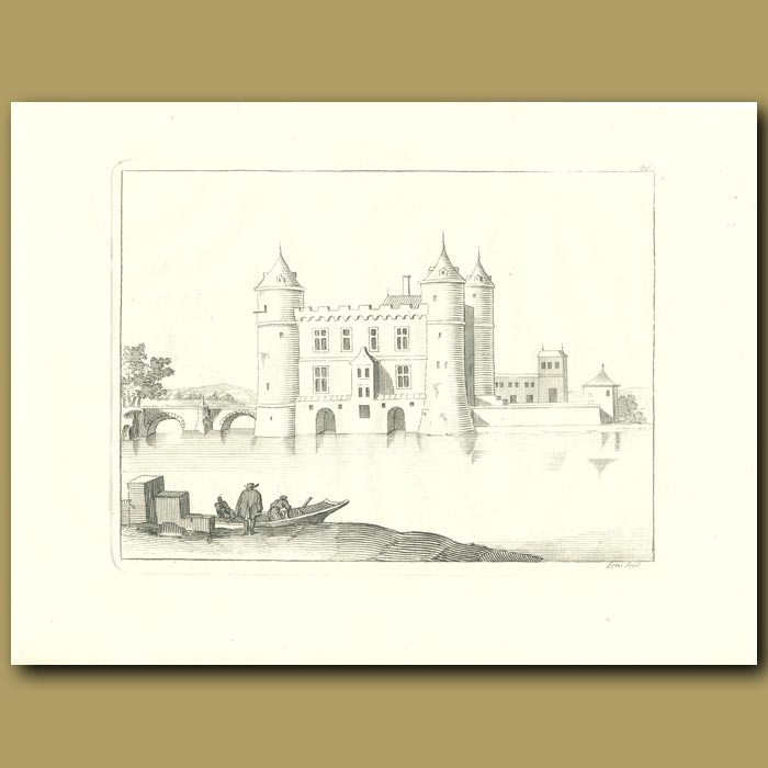 Antique print. French Castle And Moat