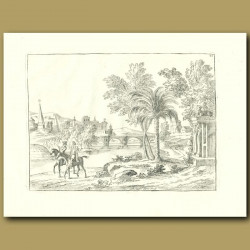 Two Horsemen Near A Palm Tree And River