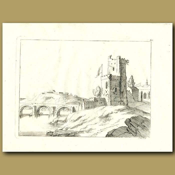 Antique print. Castle And Moat