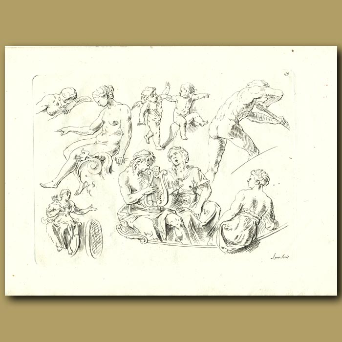 Antique print. Drawings Of Cherubs And Women