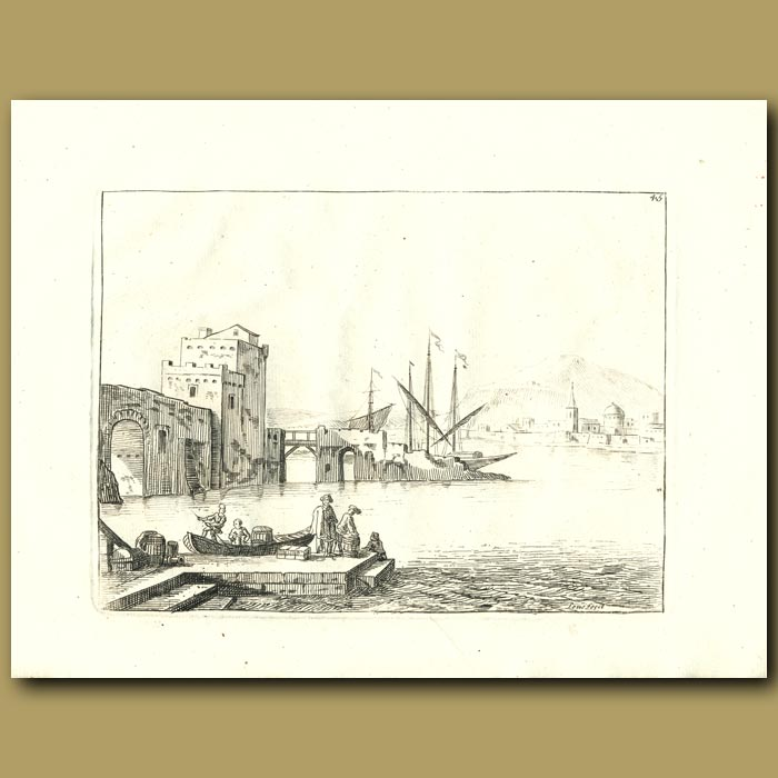 Antique print. French Harbour With Boats