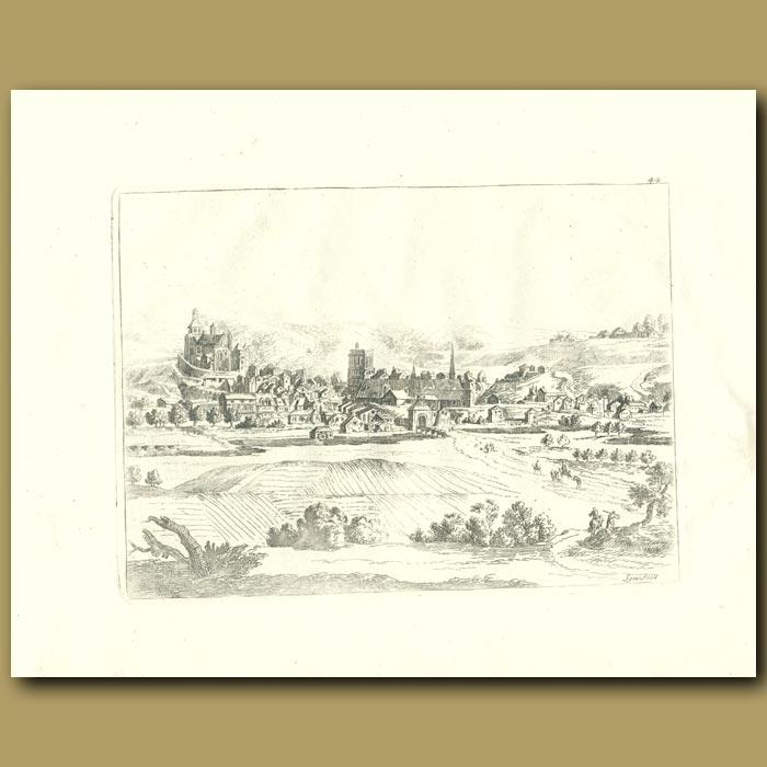 Antique print. French Village